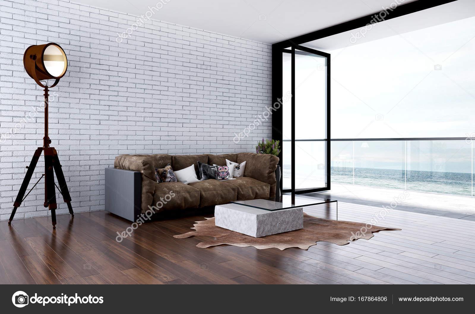 Het interieur design idee van loft woonkamer en witte bakstenen muur