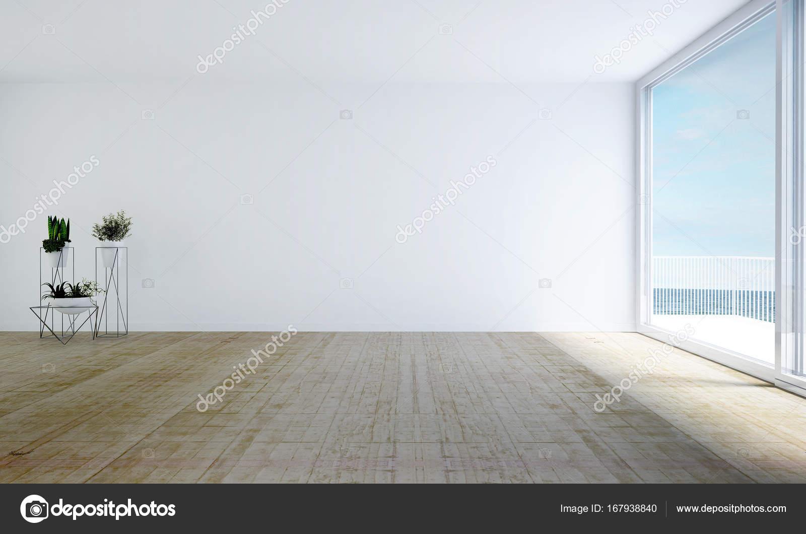 Das Interior Design der weißen leeren Wohnzimmer und weiße Ziegel ...