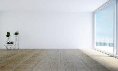 The interior design of white empty living room and white brick texture wall background