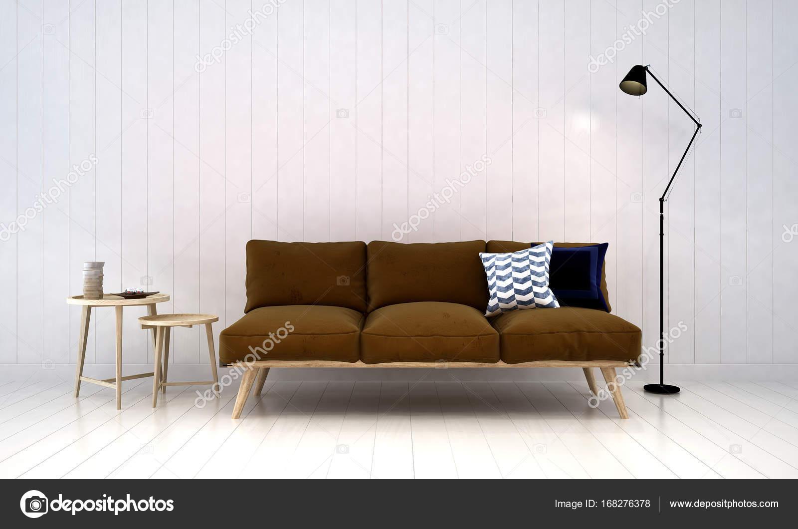 Die Innenausstattung des Wohnzimmer und weißen Holz Wand-Hintergrund ...