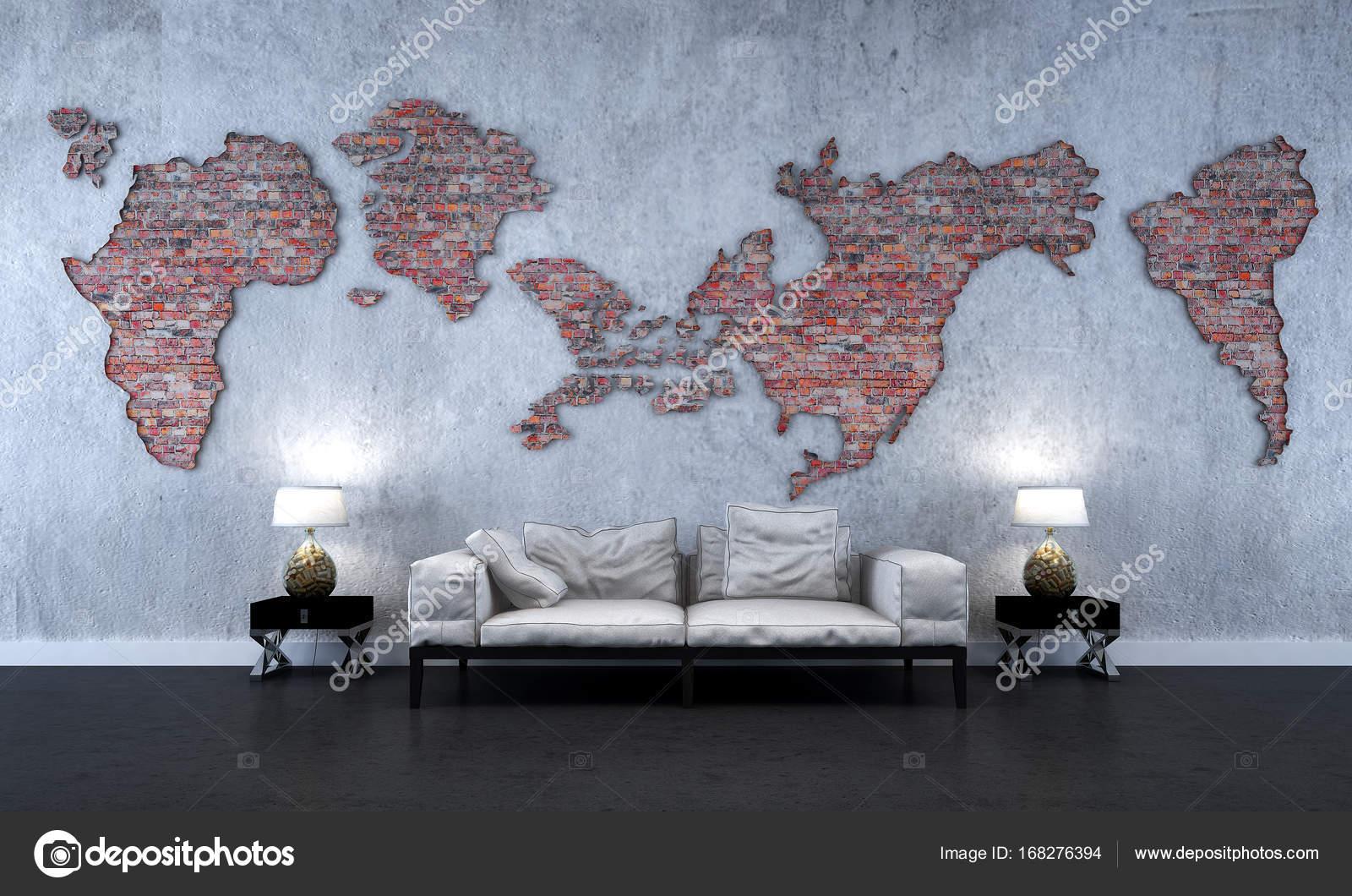 19cda02917b4 La décoration intérieure de la salle de séjour minimal et mur brique  texture et monde fond de carte– images de stock libres de droits