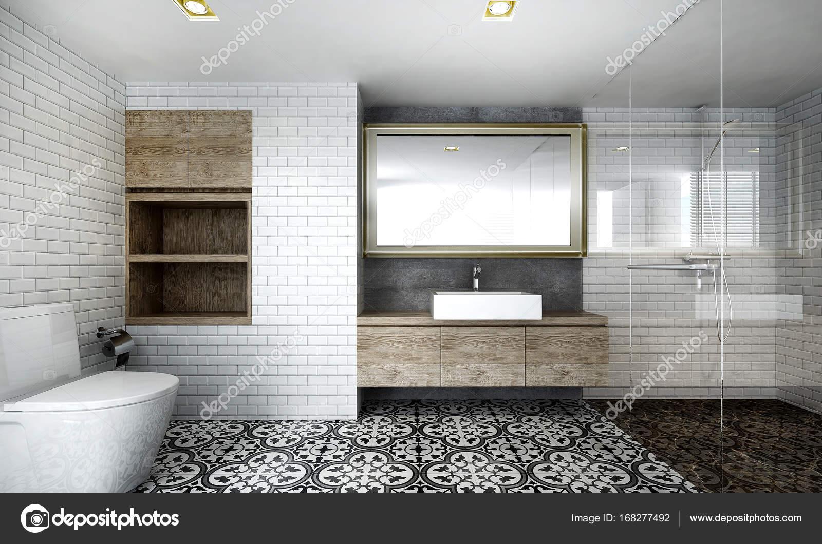 Il design degli interni della stanza da bagno minima e texture di