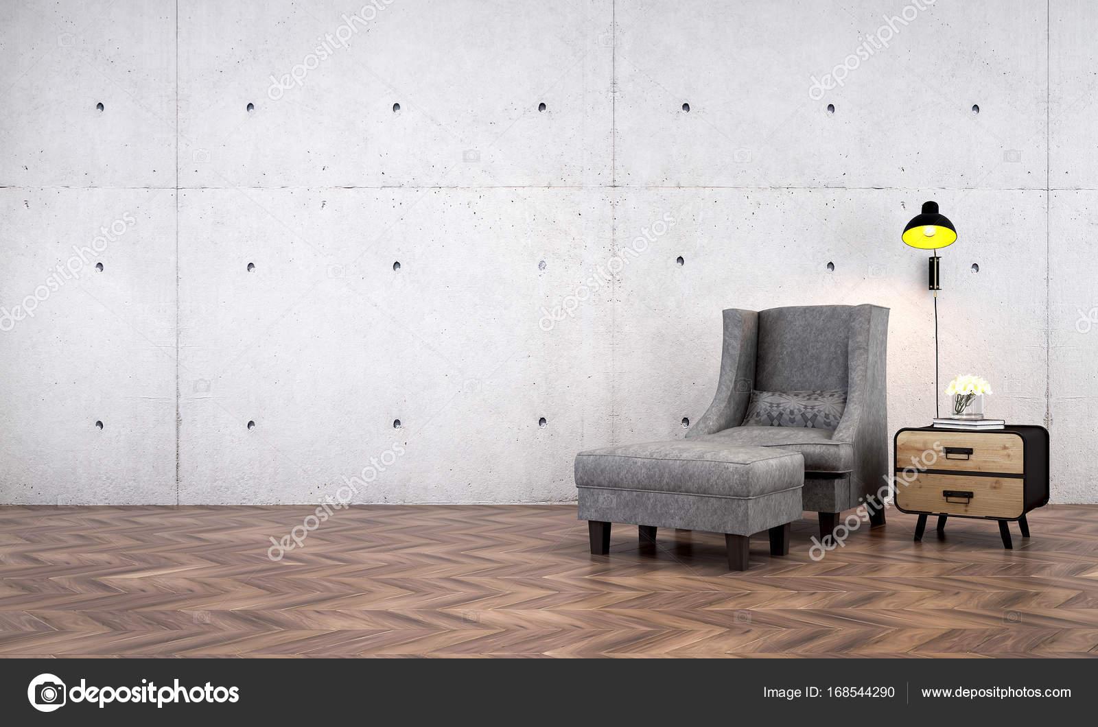 Das Interior Design von Liegestühlen und Wohnzimmer und Beton Wand ...