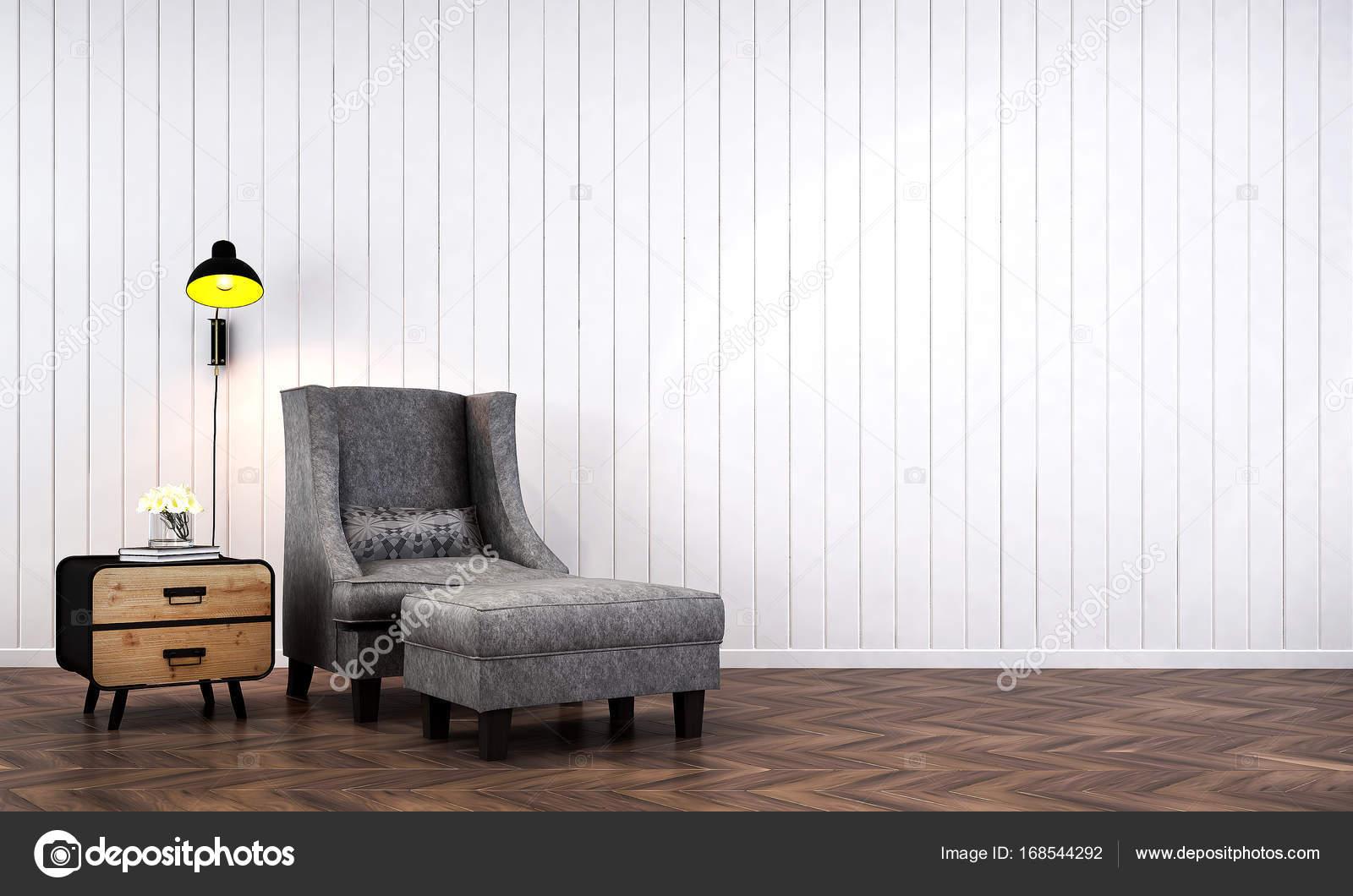 Het interieur van de minimale lounge stoelen en woonkamer en hout ...