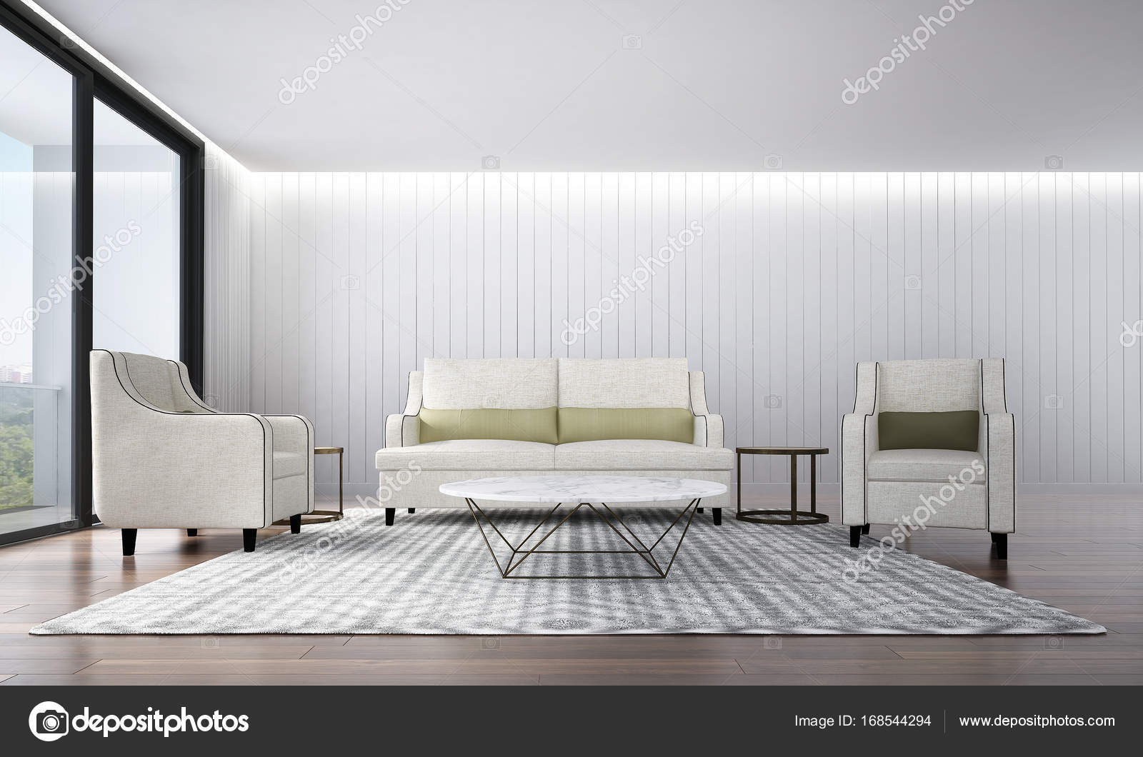 The interior design of luxury lounge sofa and living room and white ...