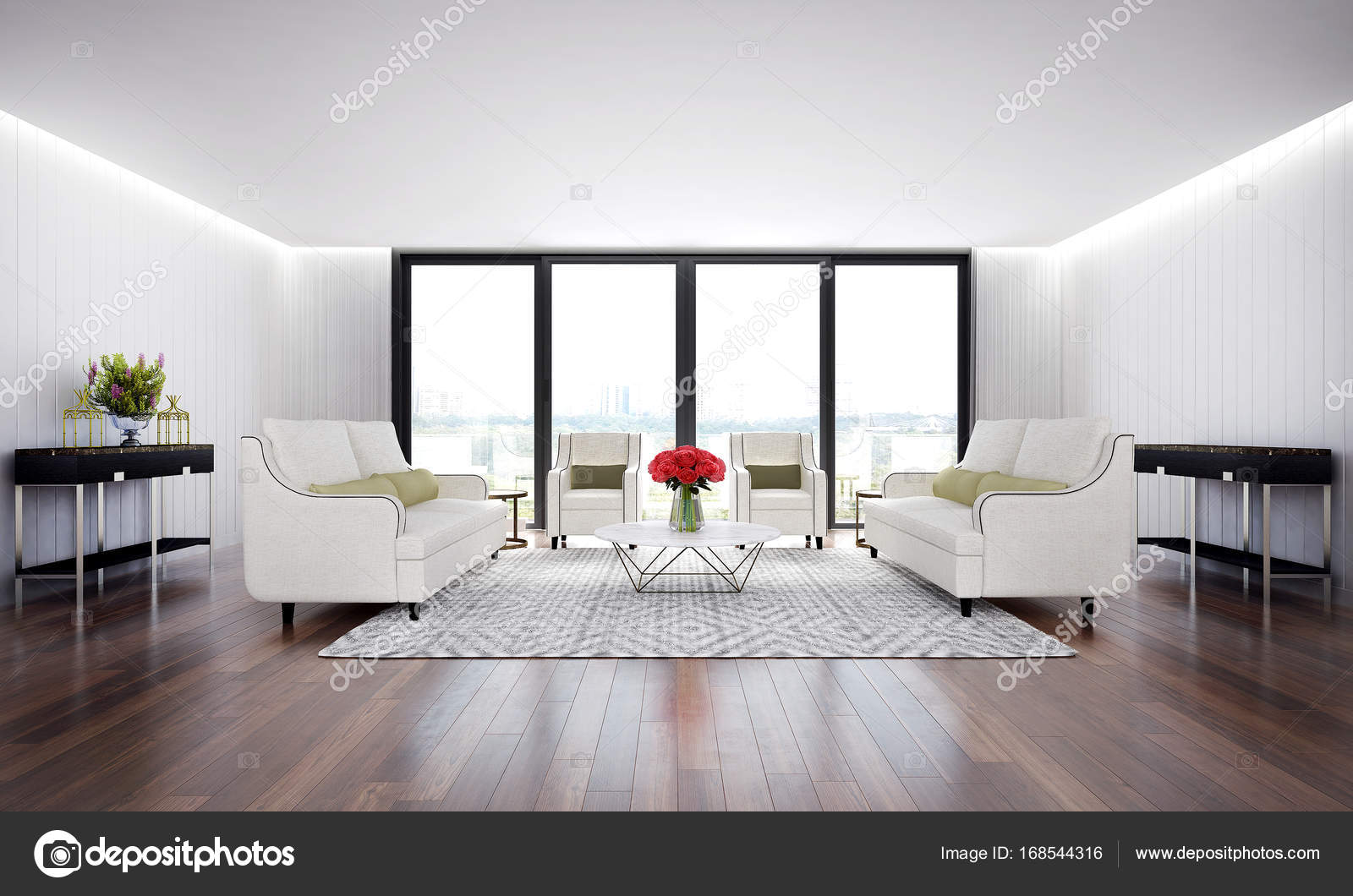 The interior design of luxury living room and wood wall texture ...