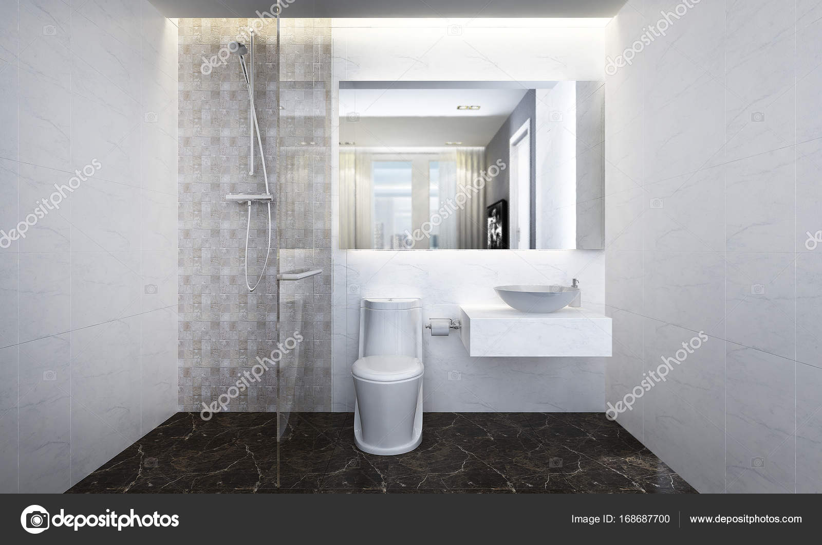 3D Rendering Of Bathroom And Toilet Interior Design U2014 Photo By Teeraphan