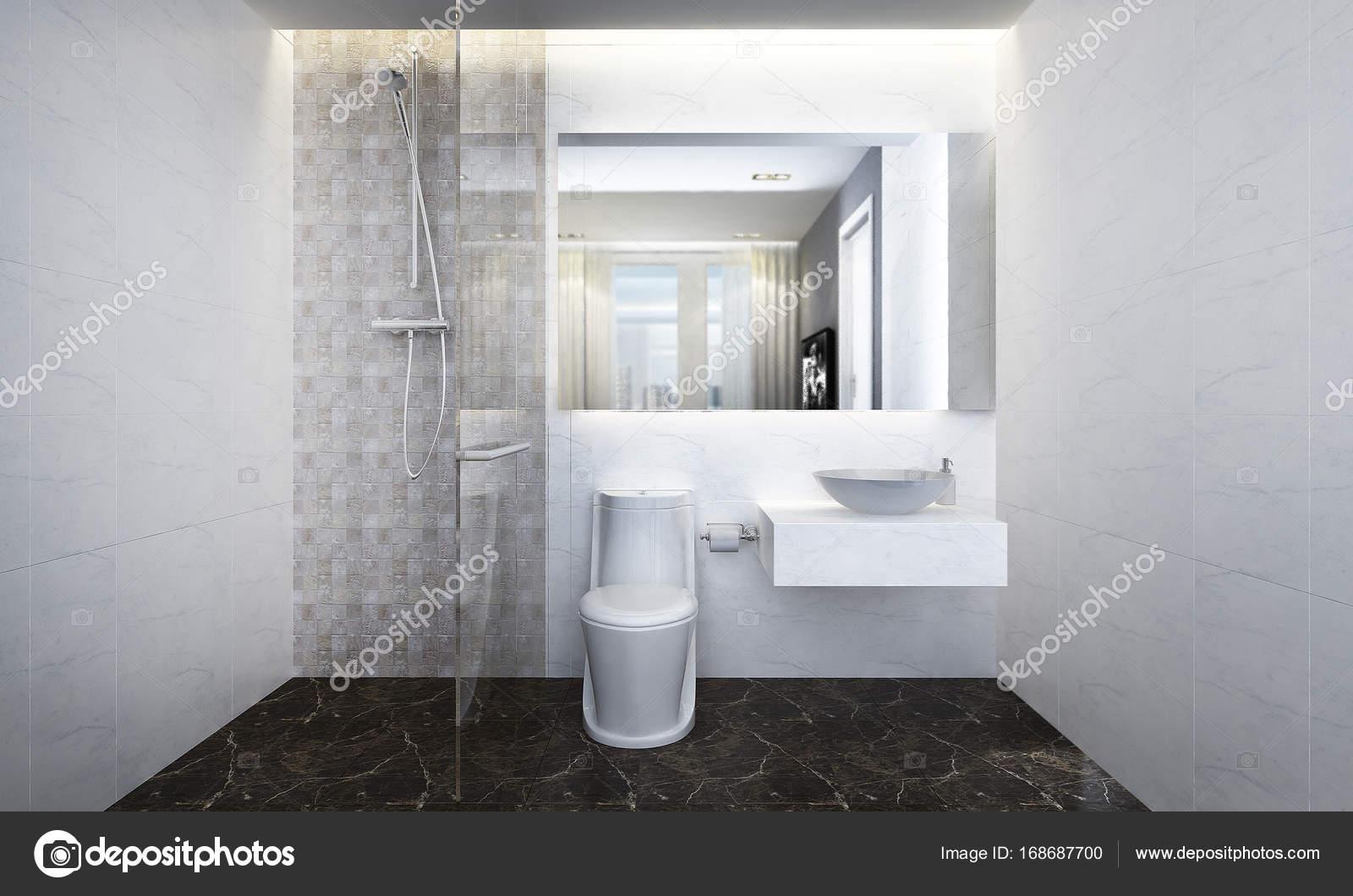 Badkamer En Toilet : Minimale interieur voor badkamer en toilet u stockfoto teeraphan