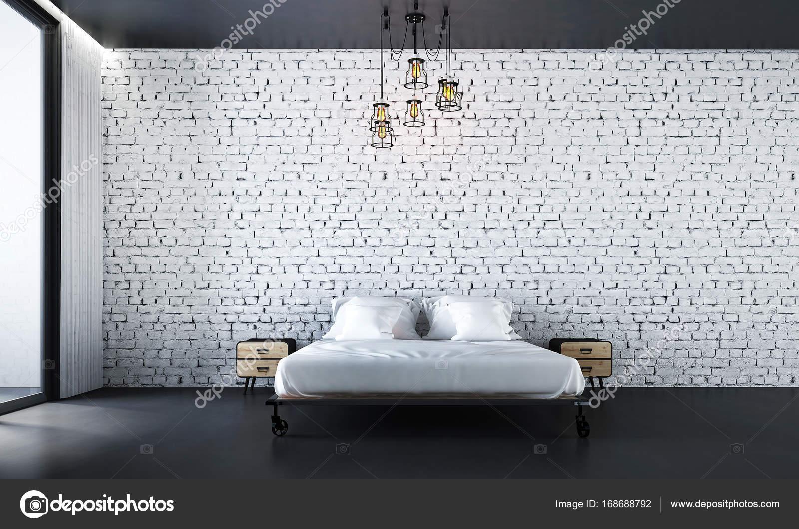 L\'arredamento della camera da letto e muro di mattoni bianco — Foto ...