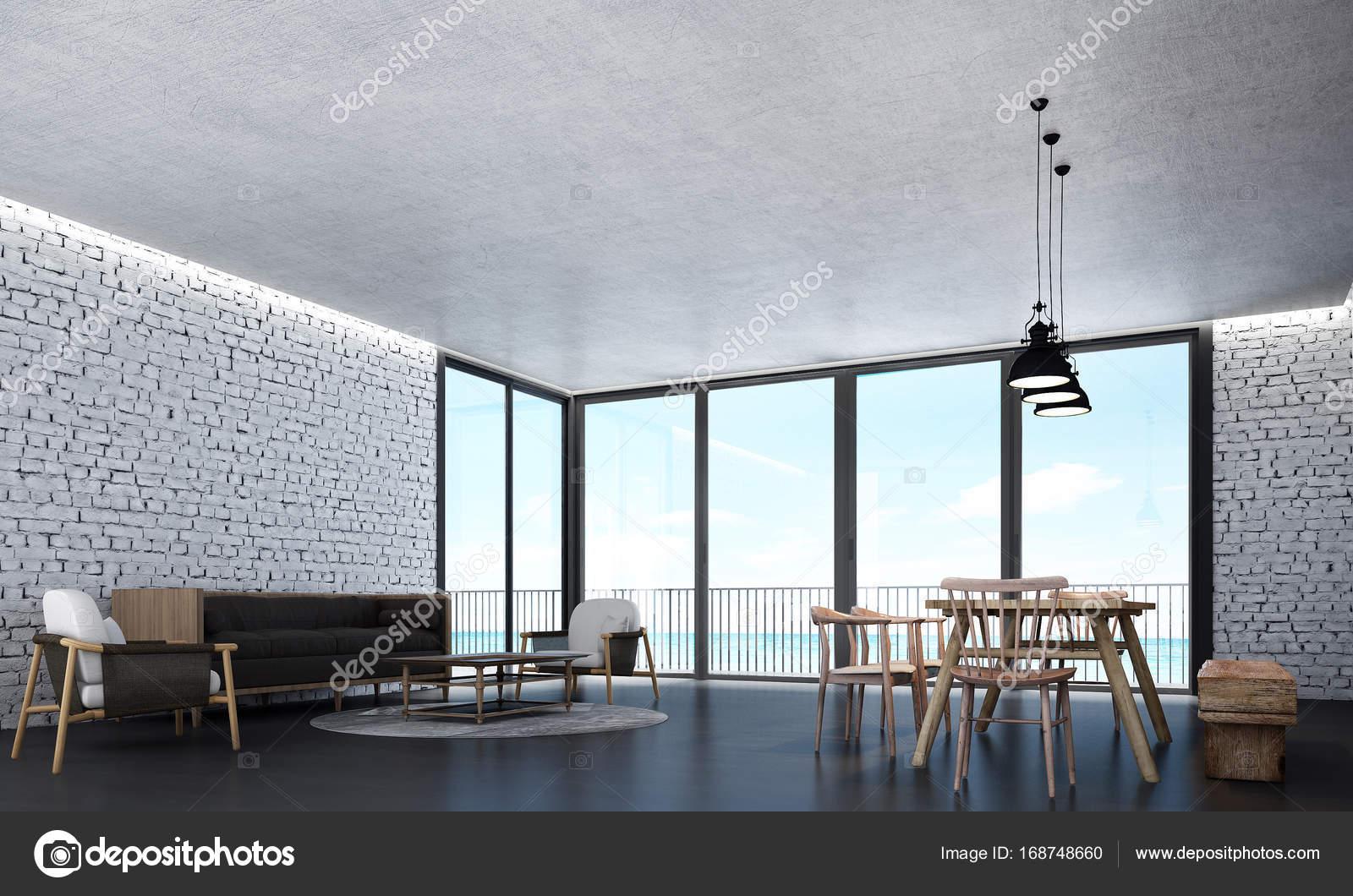 Die Innenausstattung des Loft Esszimmer und Wohnzimmer — Stockfoto ...