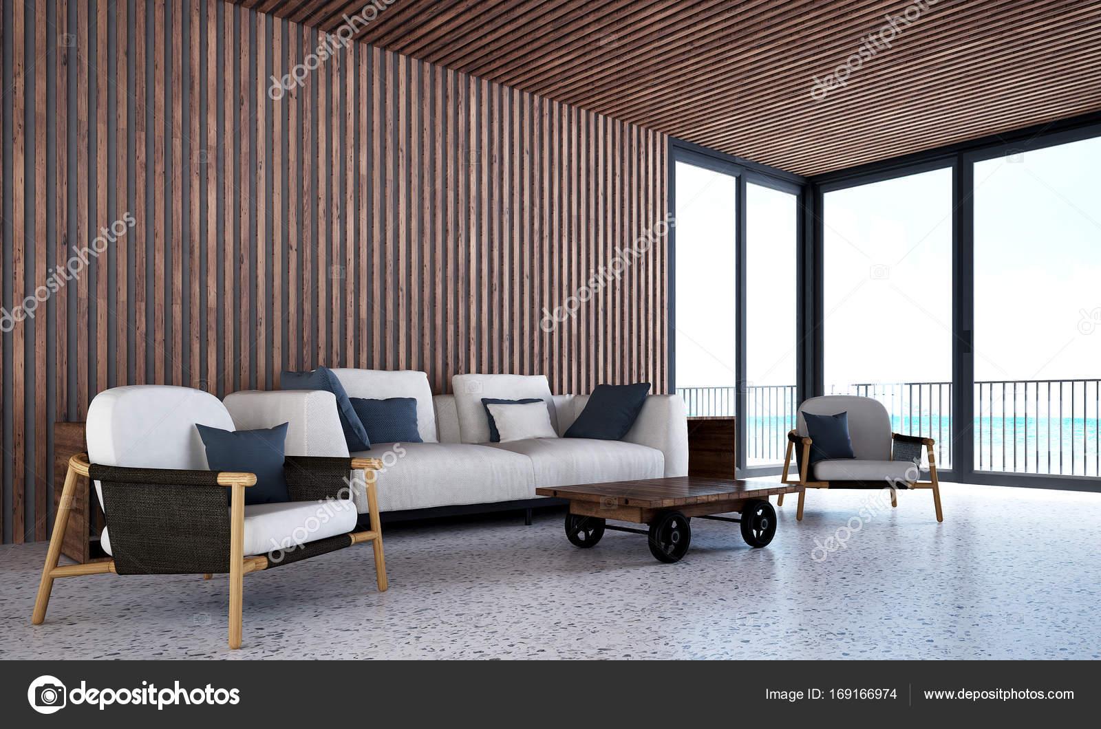 De design-interieur van woonkamer, lounge stoelen en houten tegel ...