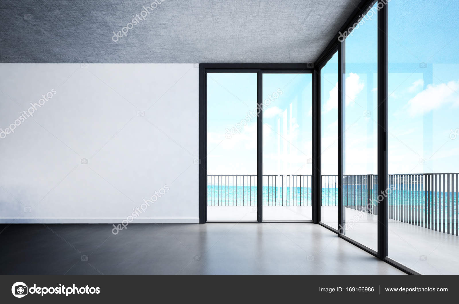 Das Innendesign des leeren Lounge Chairsliving Zimmer und weiße Wand ...