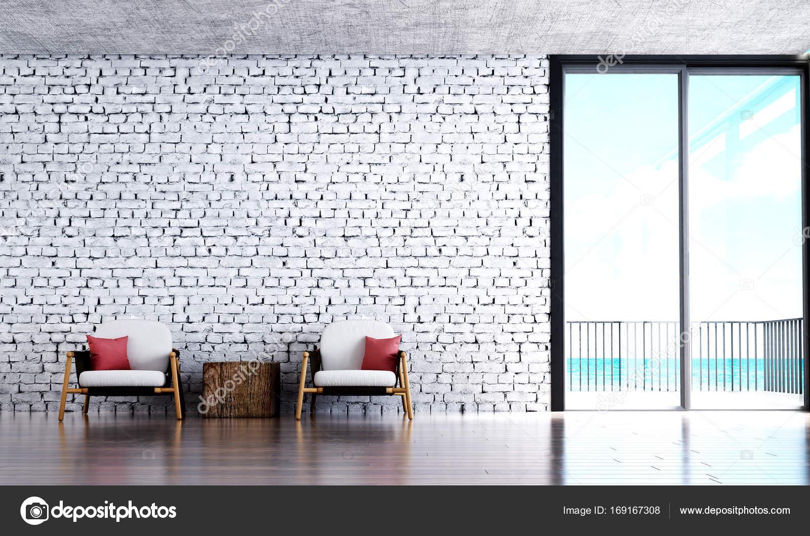 Das Industriedesign innere Lounge und Wohnzimmer und weiße Mauer und ...