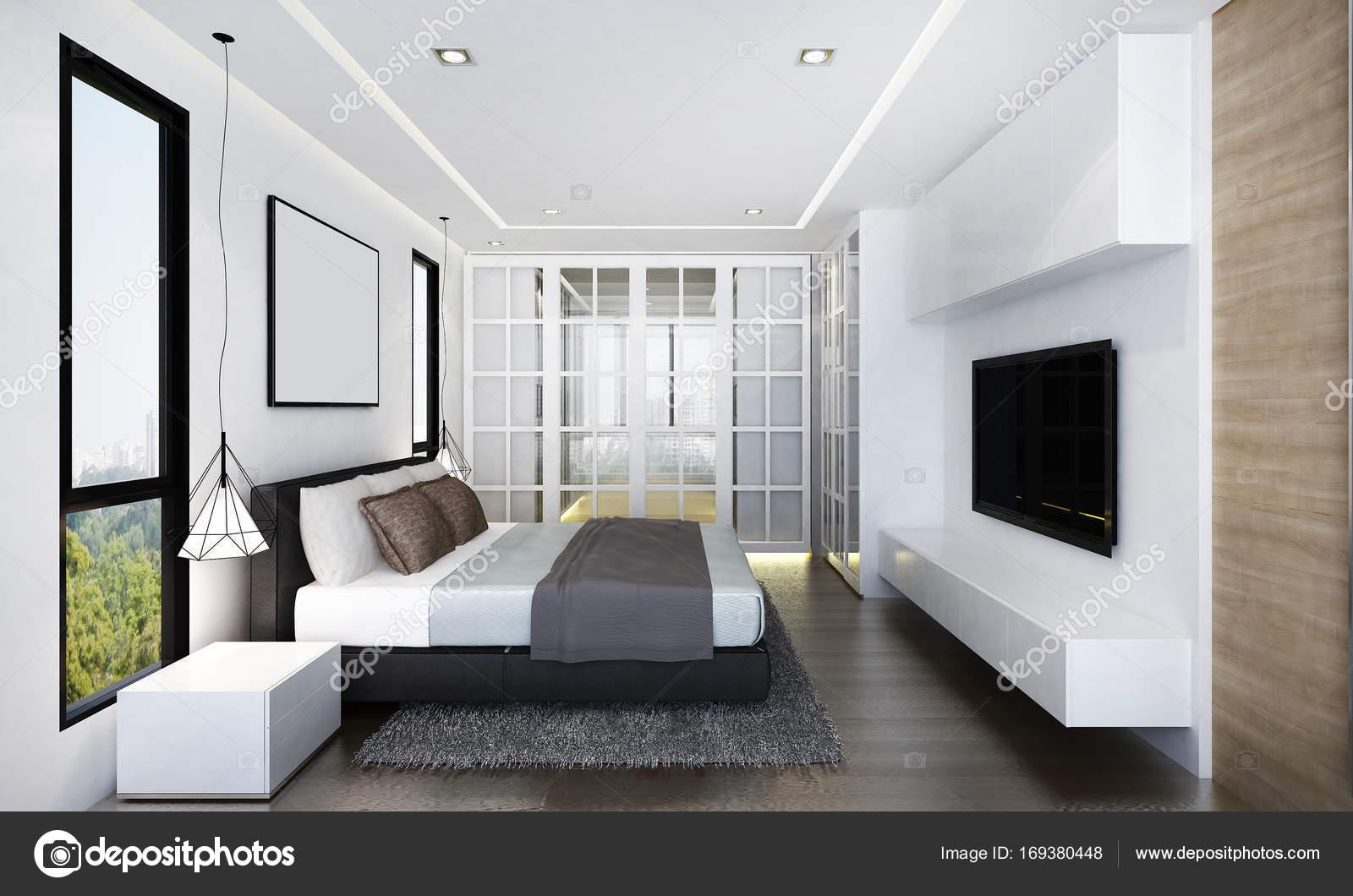 Luxe Slaapkamer Interieur : Het interieur van luxe slaapkamer en lcd tv u stockfoto