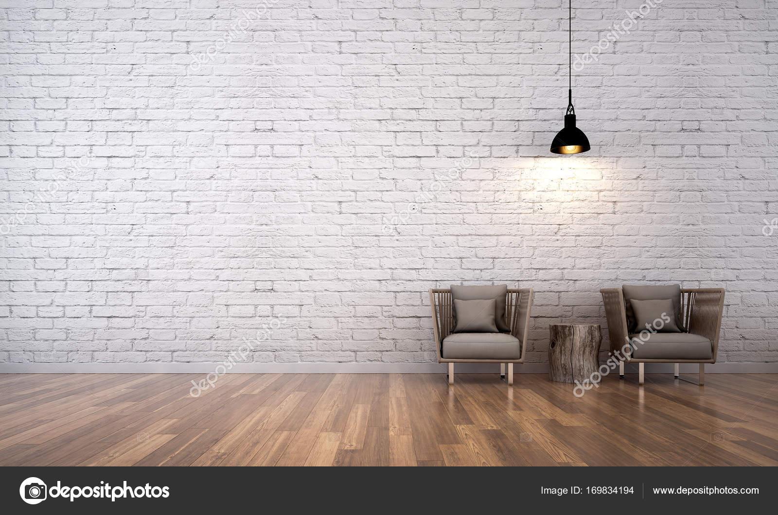 Die Innenausstattung des Wohnzimmer und weiße Ziegel Wand ...