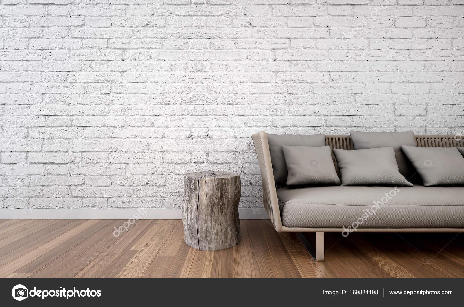 Het interieur van de minimale woonkamer en witte bakstenen muur ...