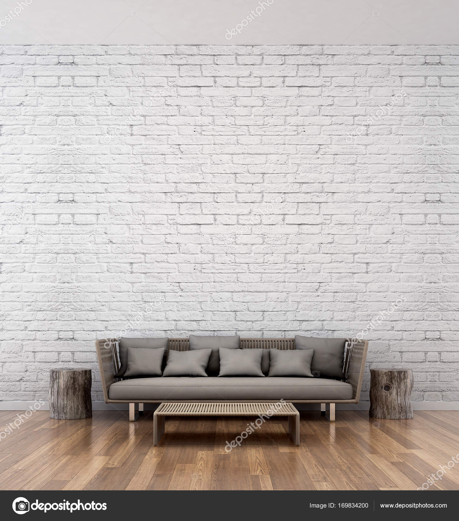 The interior design of loft living room and white brick wall ...