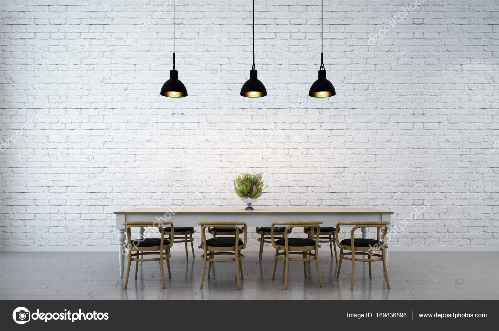 advertising contemporary banner brick empty u mock white lamp and chairs books interior concept photo with