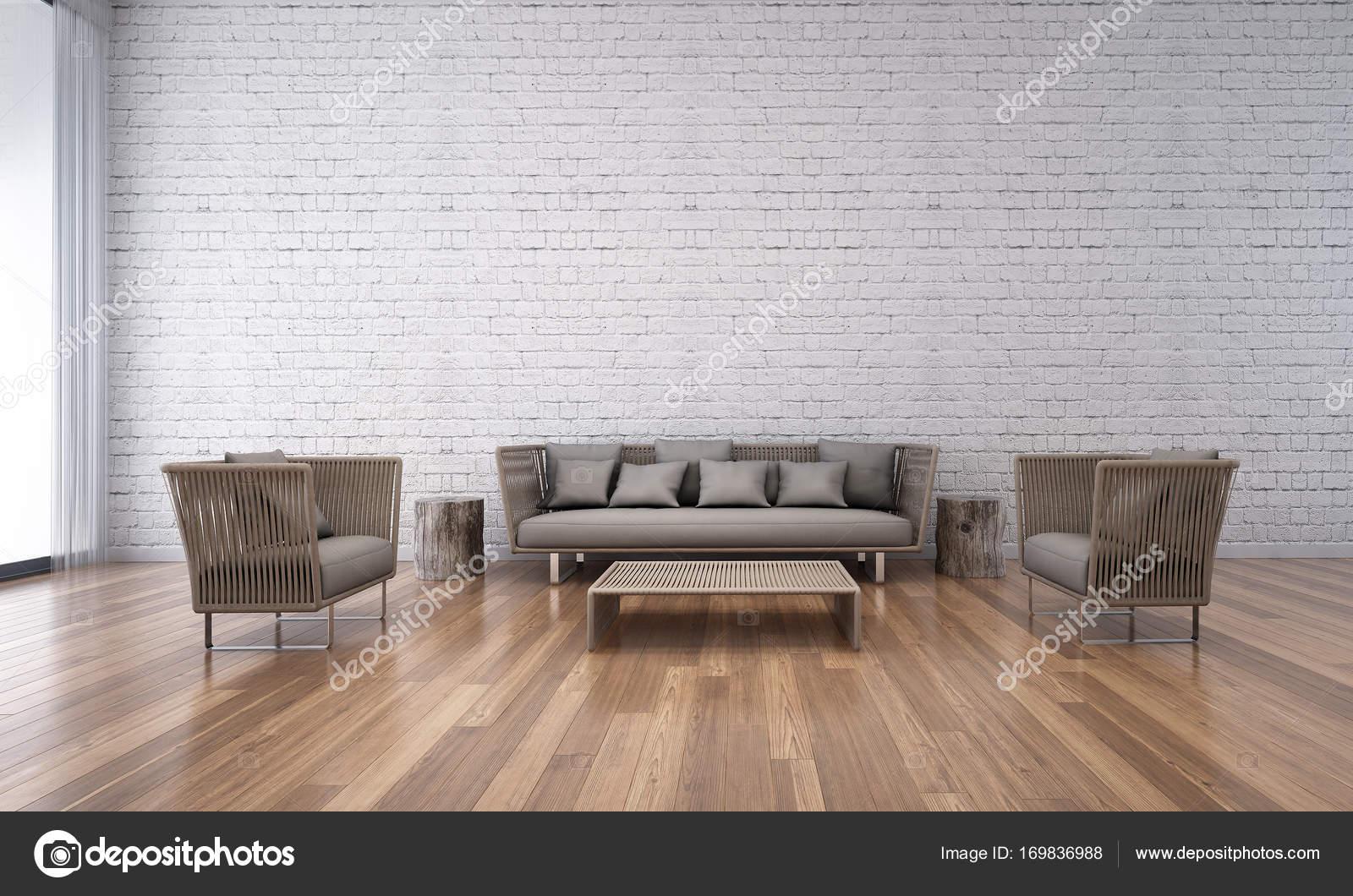 Die Innenausstattung des Loft Wohnzimmer und weiße Ziegel Wand ...
