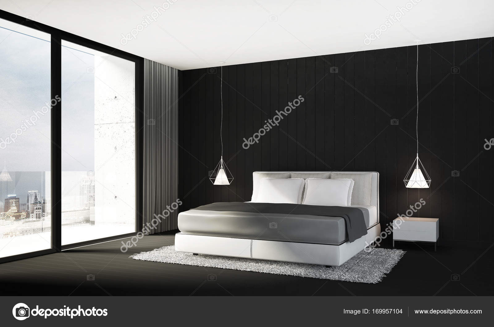 The interior design of minimal bedroom and black wall ...