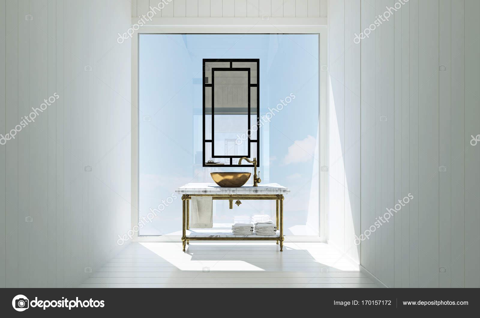 Badkamer Beton Interieur : De witte badkamer interieur en beton muur textuur achtergrond en