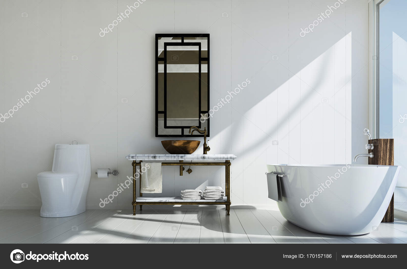 The luxury bathroom interior design and concrete wall texture ...