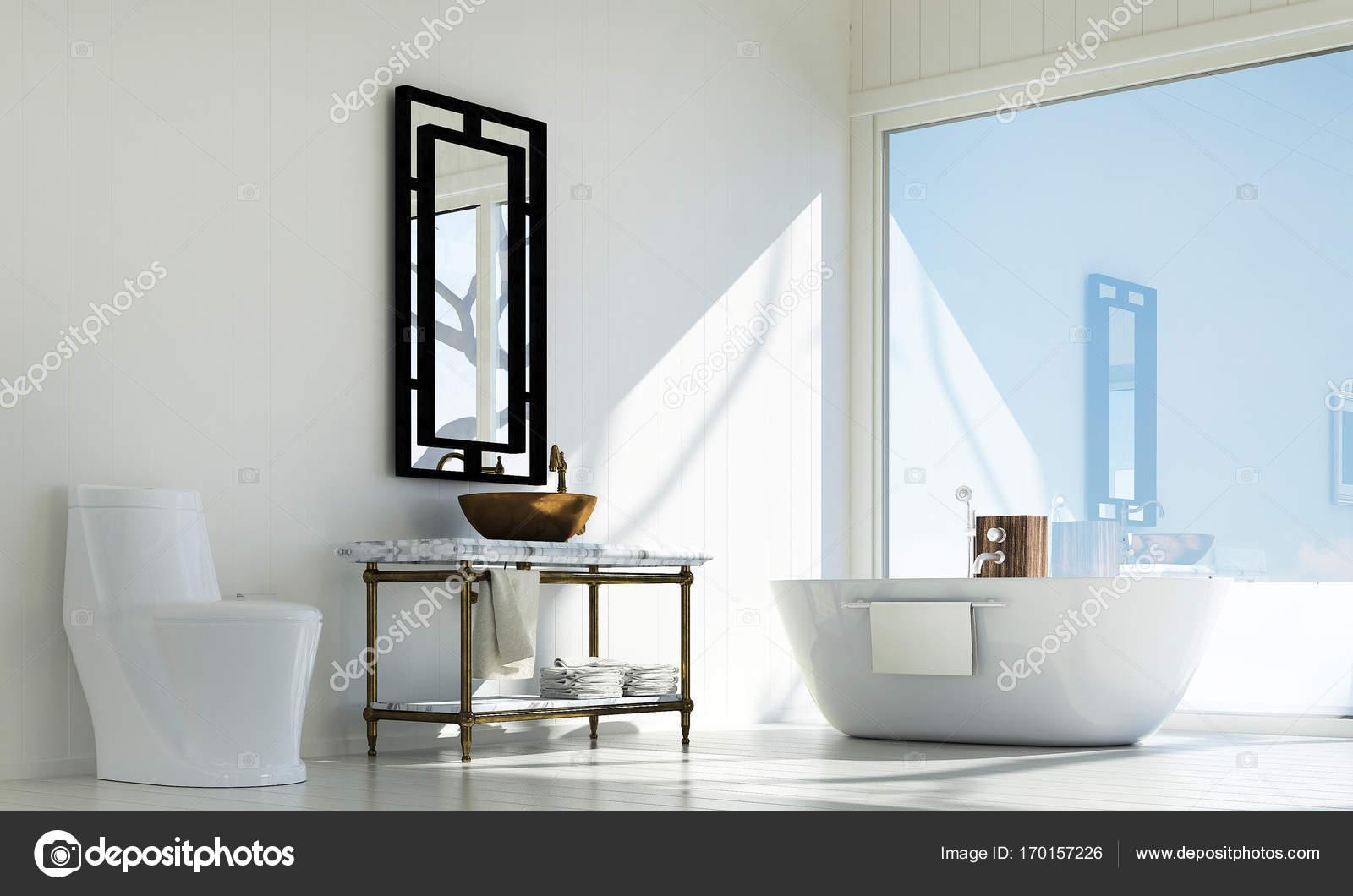 De moderne badkamer interieur en beton muur textuur achtergrond en