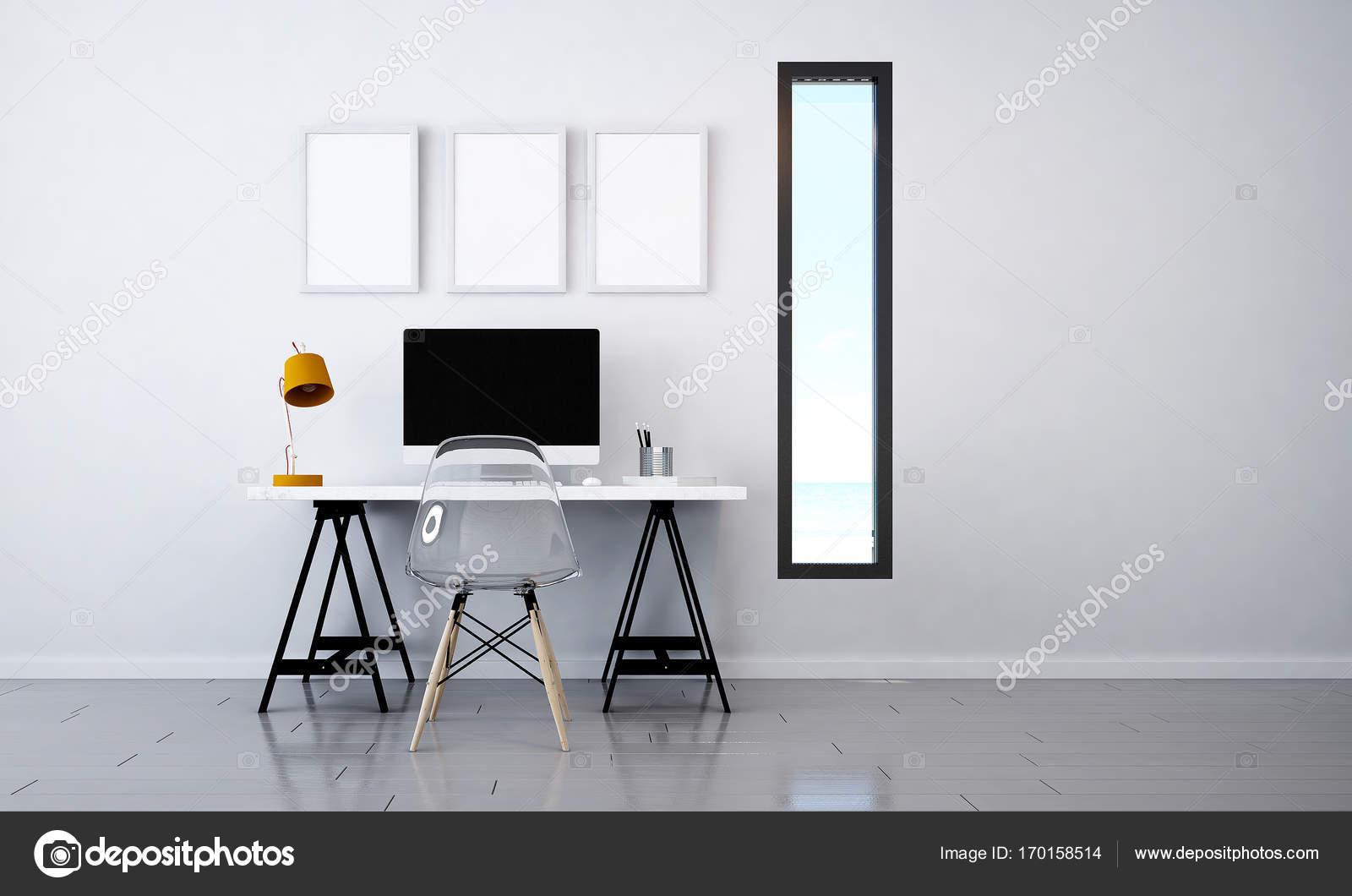 Exceptional 3D Rendering Innenarchitektur Und Studie Raum Zu Arbeiten U2014 Foto Von  Teeraphan