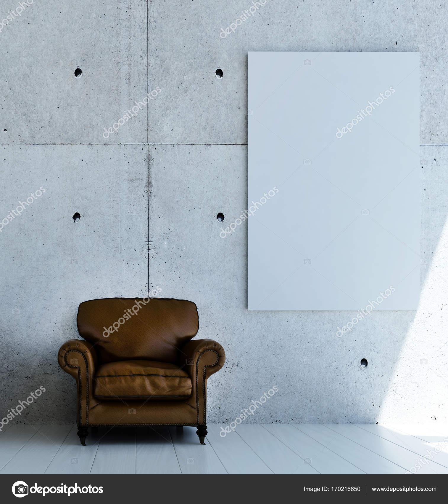 Die Innenausstattung des Loft Wohnzimmer und konkrete Textur Wand ...