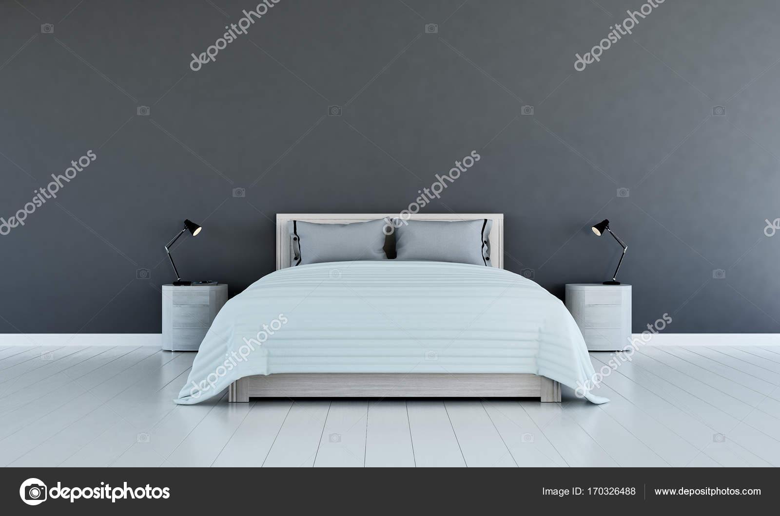 Die Innenausstattung des minimalen Schlafzimmer und graue Wand ...