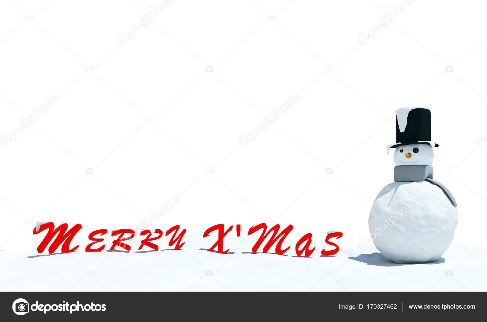 Frohe Weihnachten-Grafik und Schneemann auf weißem Hintergrund ...