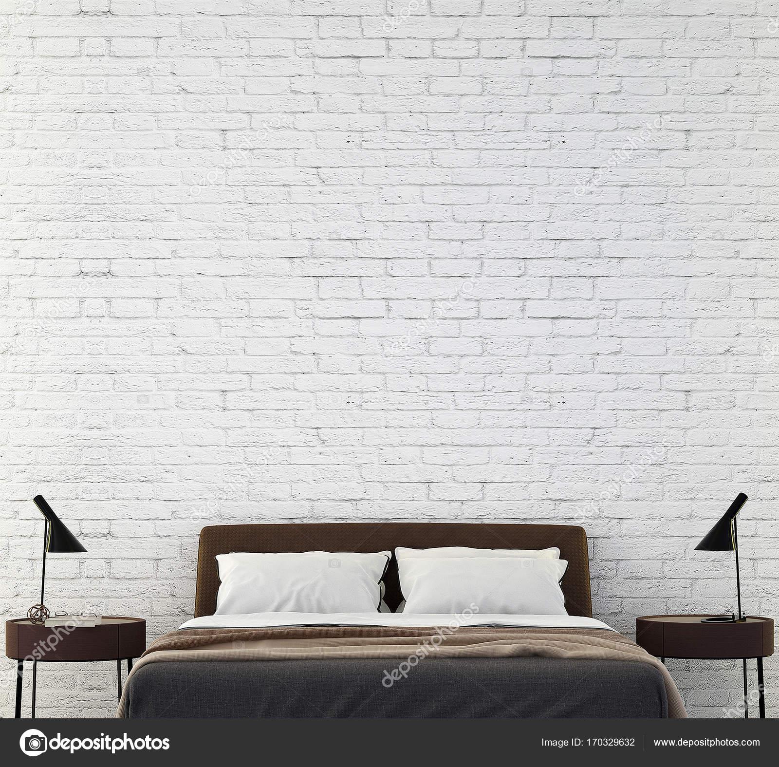 Das Interior Design des modernen Schlafzimmer und Backstein Muster ...