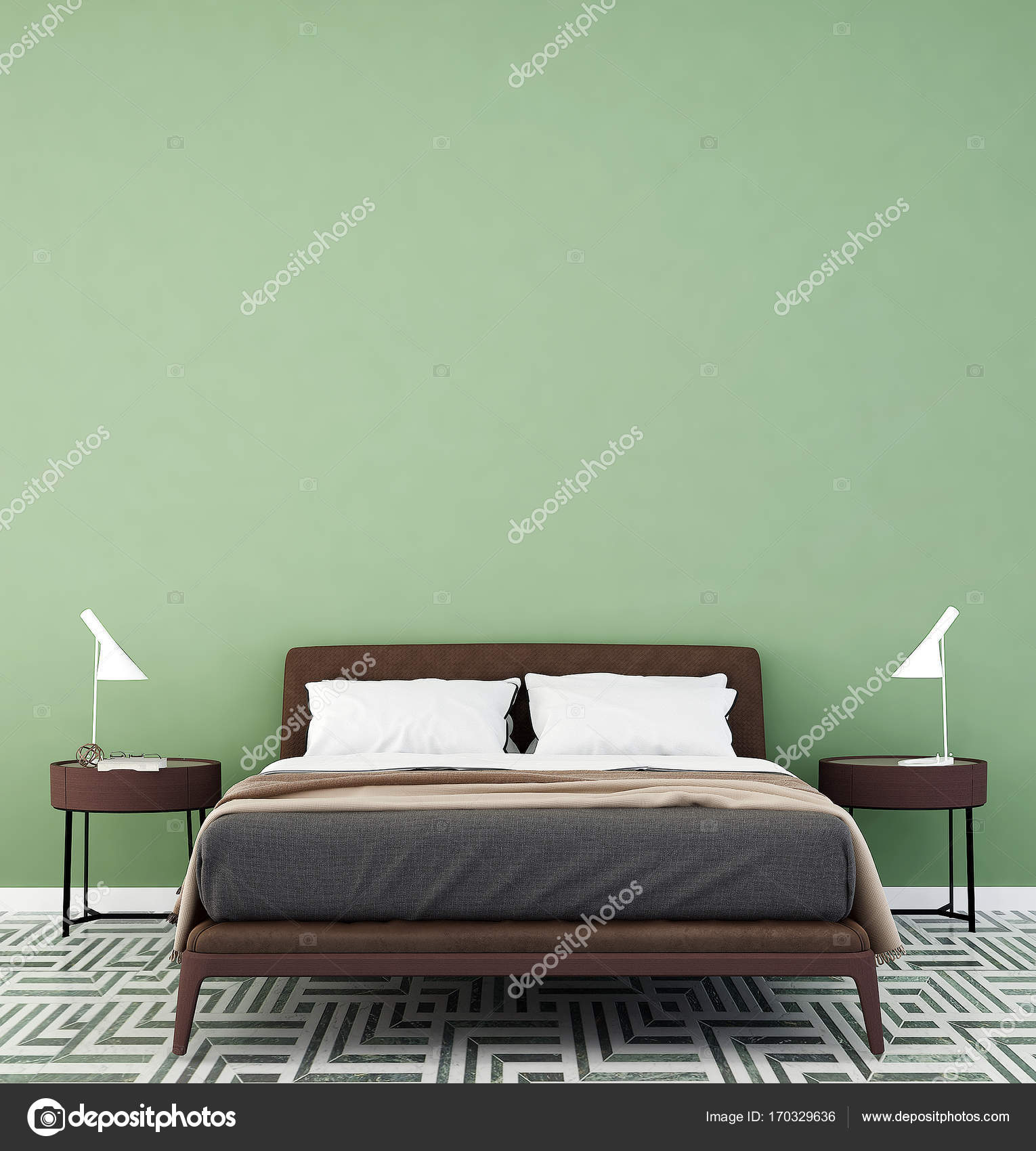 Het interieur van het moderne slaapkamer en groene patroon muur ...
