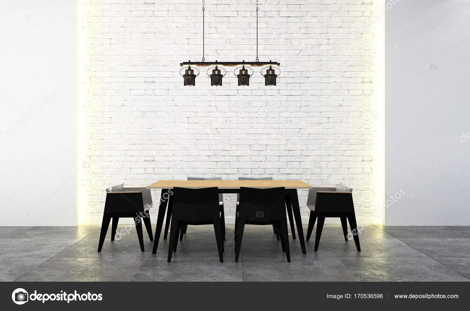 El patrón de pared comedor moderno diseño interior y ladrillo ...