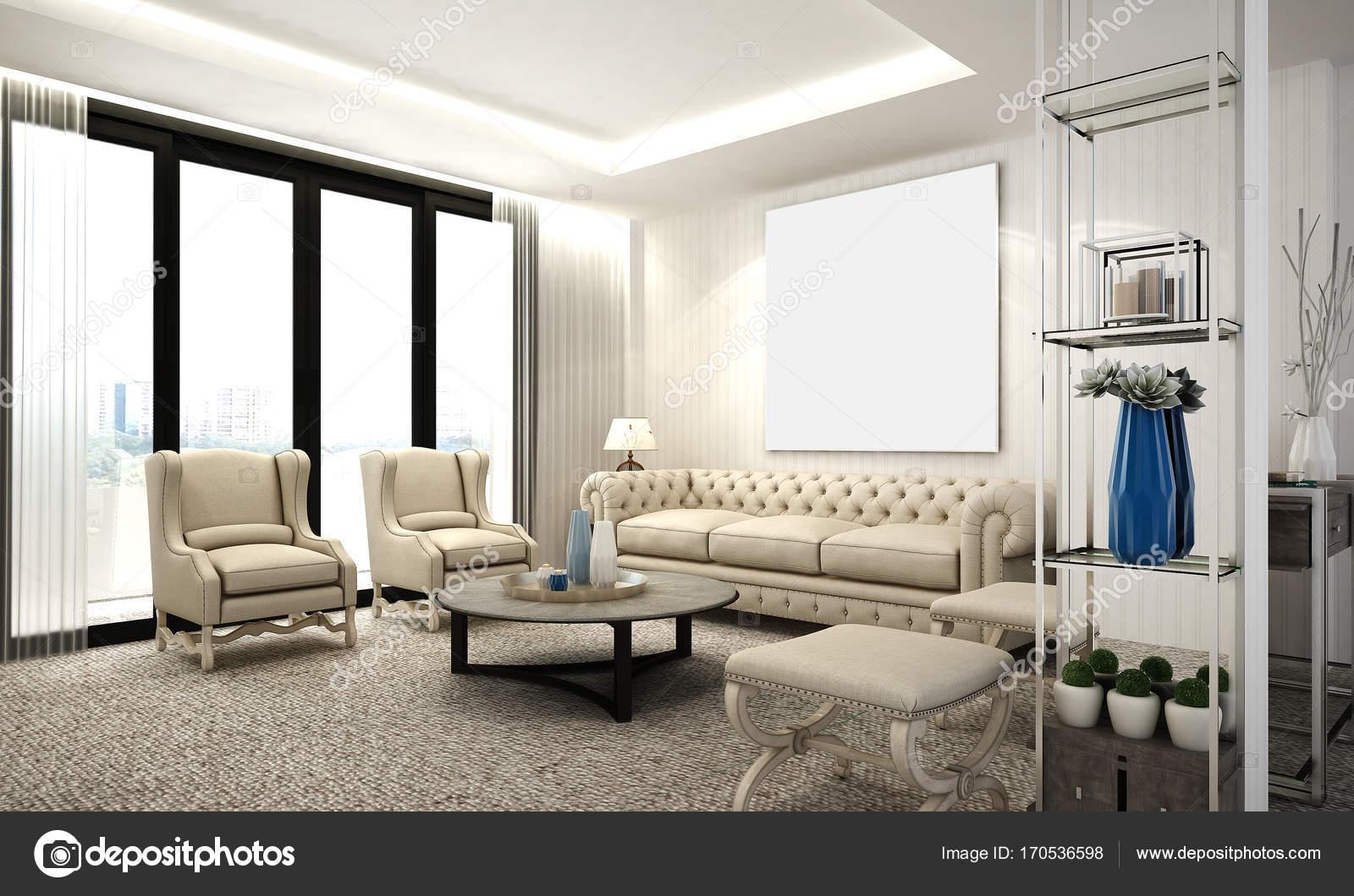 Il design classico salotto e soggiorno — Foto Stock © Teeraphan ...