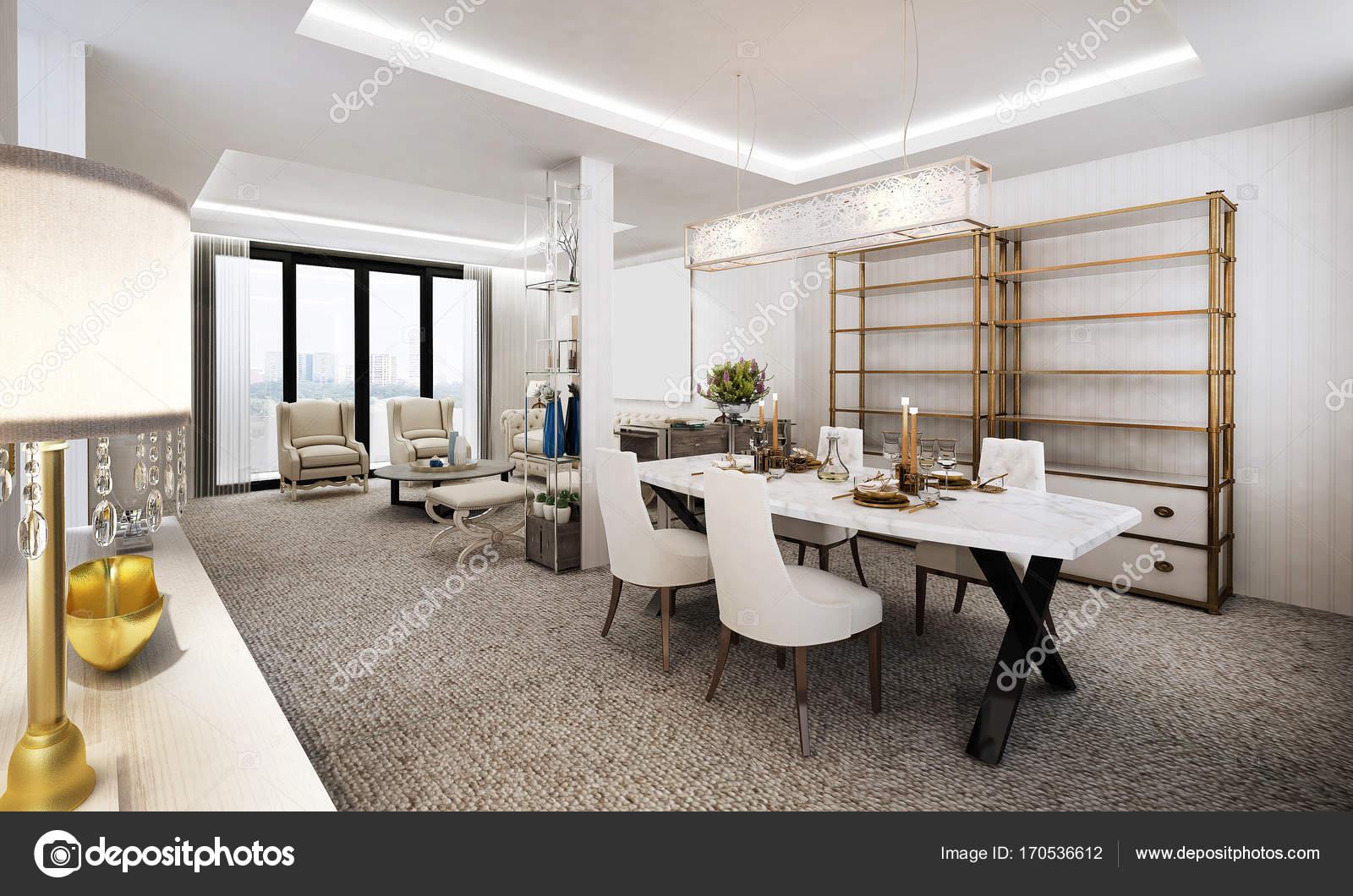De luxe lounge en woonkamer interieur en de eetkamer — Stockfoto ...