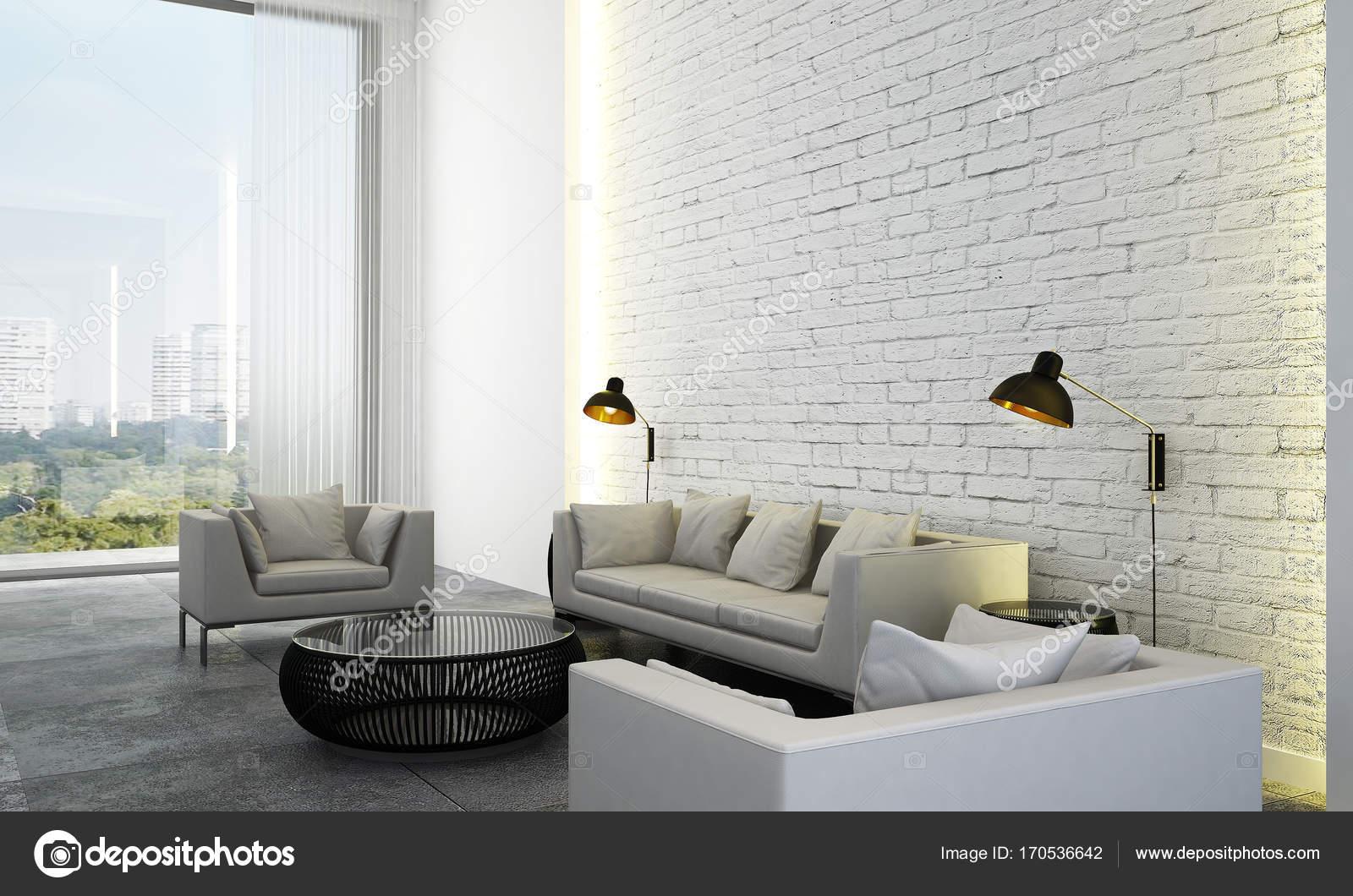 Die moderne Lounge und Wohnzimmer Interior Design und Backstein ...