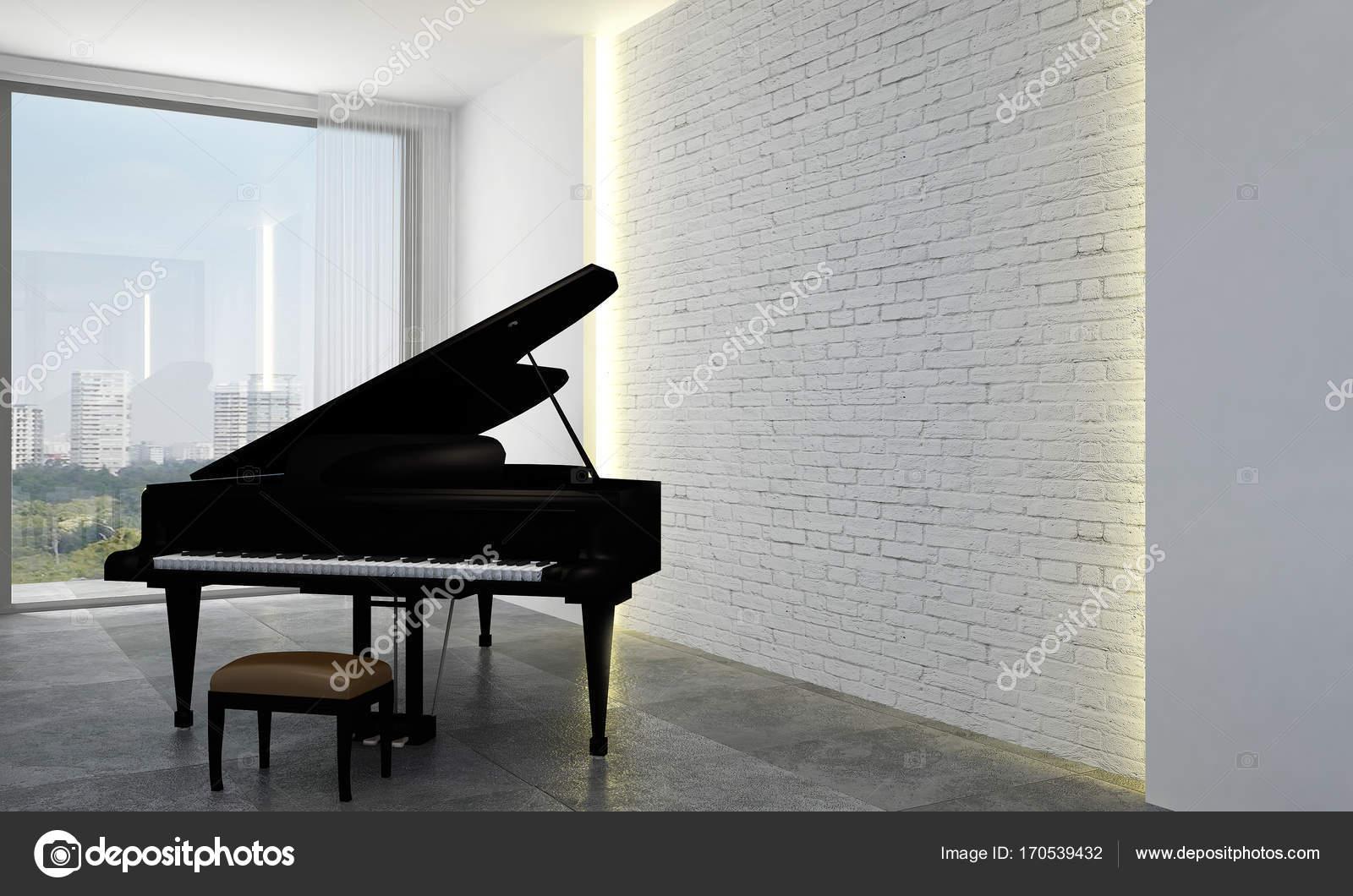 Le salon et la salle de séjour design d\'intérieur et la brique mur ...