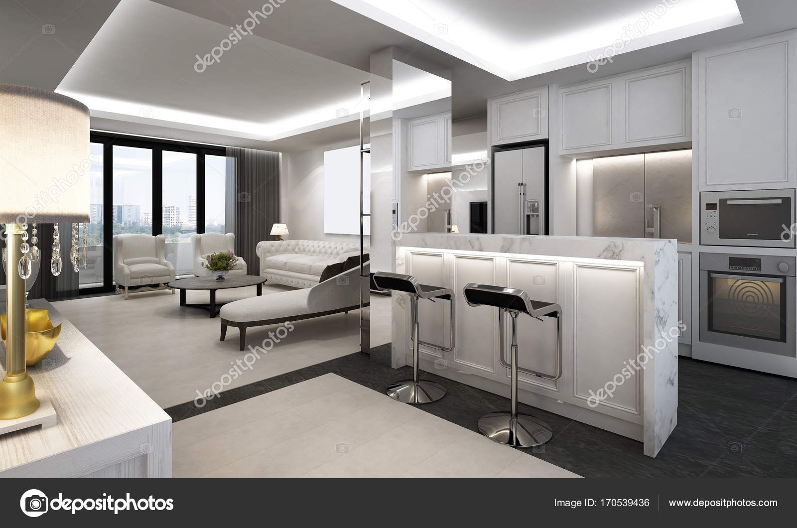 Das luxus lounge und wohnzimmer interior design u stockfoto