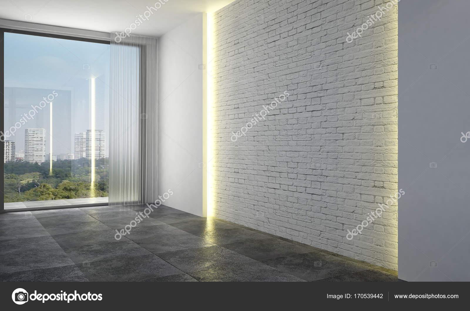 Die leere Lounge und Wohnzimmer Interior Design und Backstein Muster ...