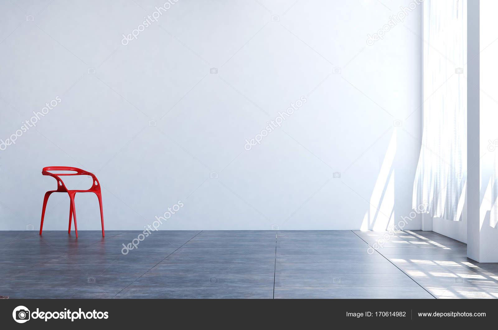 Het interieur design idee van rode stoel en woonkamer en wit textuur