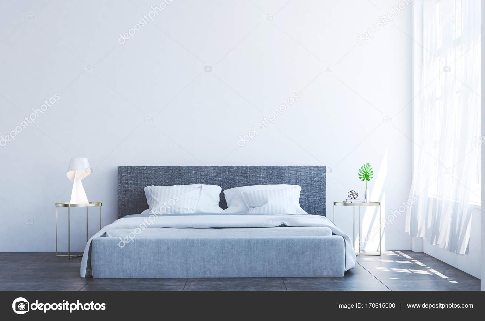 Het interieur design idee van luxe slaapkamer en witte textuur