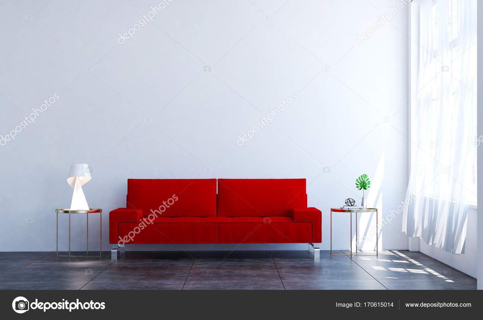 Het interieur design idee van minimale rode sofa en woonkamer en wit