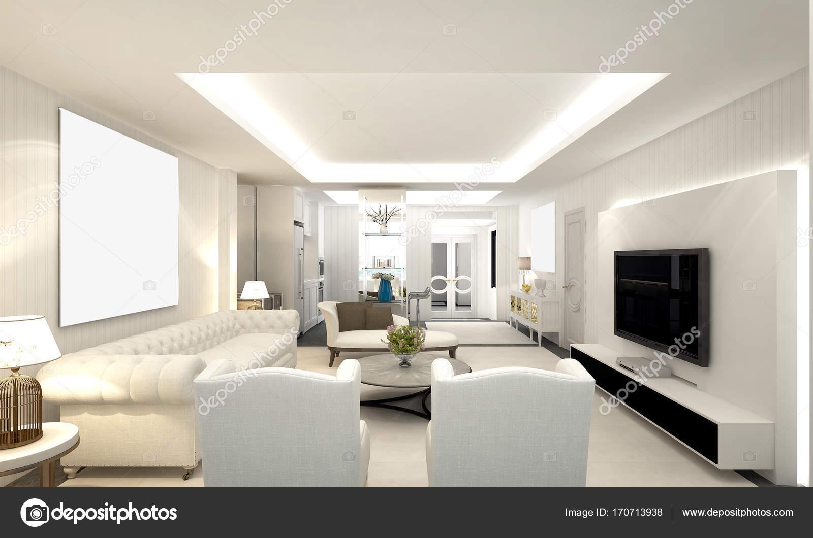 Luxus-Wohn- und weiße Wand-Muster-Design-Interieur ...