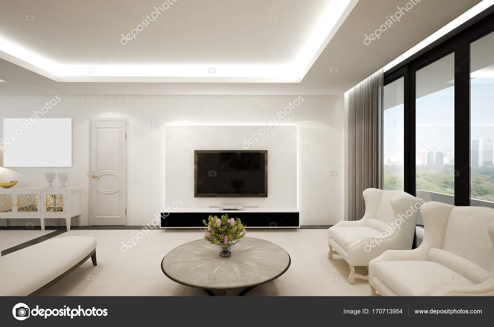 De moderne luxe woonkamer en witte muur patroon design Woonkamer design