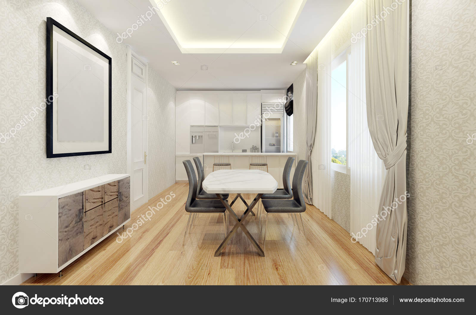 La sala da pranzo moderna e interior design di parete modello — Foto ...