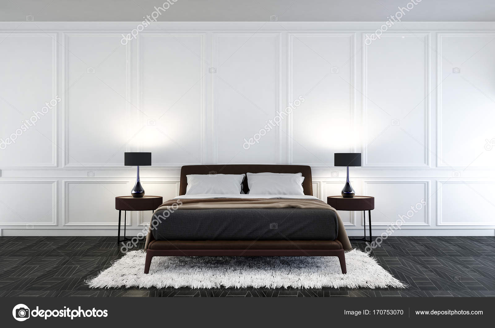 De minimale slaapkamer interieurontwerp en wit muur patroon