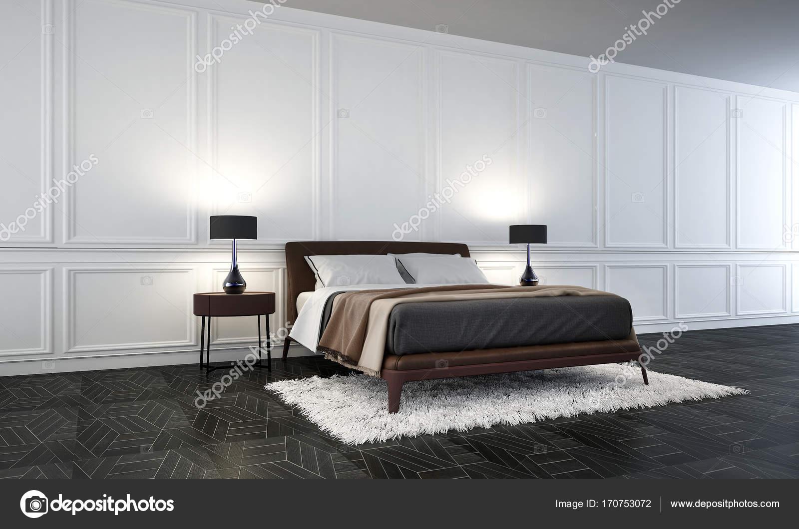 Die Schlafzimmer-Innenarchitektur und weißen Wand Muster Hintergrund ...