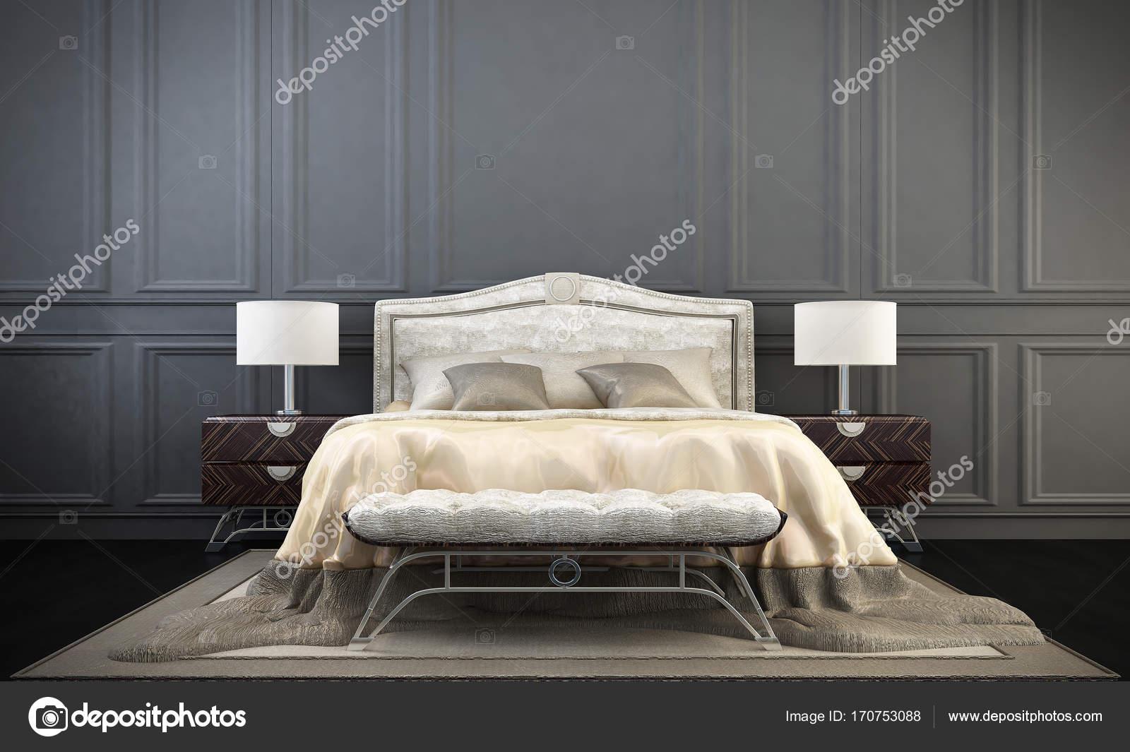 De moderne luxe slaapkamer interieurontwerp en grijs muur patroon