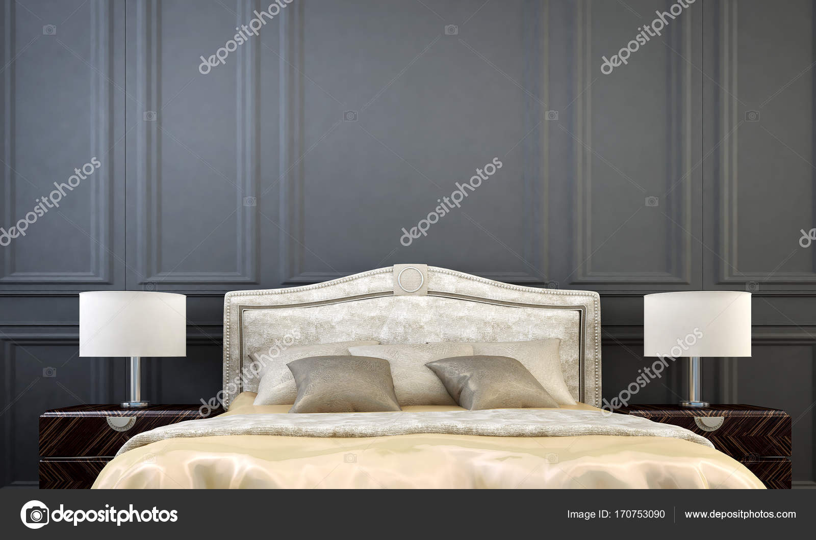 The Luxury Bedroom Interior Design And Grey Wall Pattern Background Stock Photo C Teeraphan 170753090